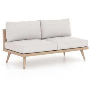 Tilly Modern Brown Teak 2-Seater Armless Outdoor Sofa 60""