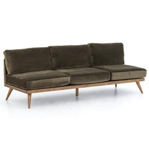 Tilly Retro Modern Green Velvet Armless Sofa