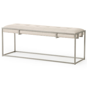 Oxford Tufted Belgium Linen Bench 43""
