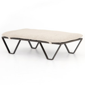 Darrow Oatmeal Fabric Ottoman with Metal Legs