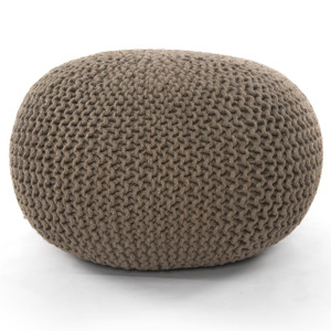 Knitted Neutral Sage Jute Pouf