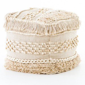 Bohemian Braided Fringe Cream Pouf