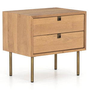 Carlisle Danish Modern Oak 2-Drawers Nightstand