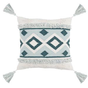 """Moroccan Cream + Sky Blue Throw Pillow 20"""""""