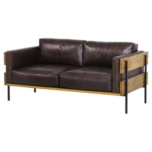 Carson Leather Upholstered Oak Wood Frame Loveseat