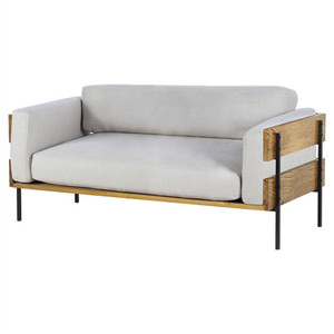 Carson Linen Upholstered Oak Wood Frame Loveseat