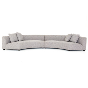 Liam Modern Grey 2 Piece Curved Sectional Sofa