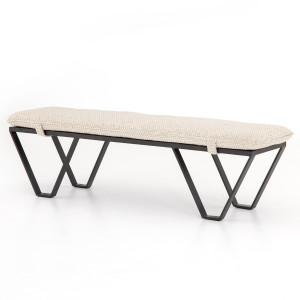 Darrow Oatmeal Fabric Bench with Metal Legs