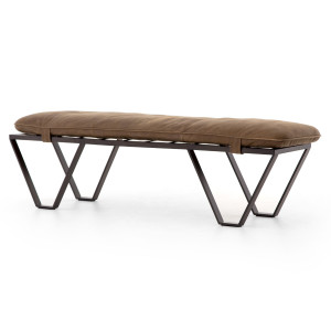 Darrow Tan Leather Bench with Metal Legs