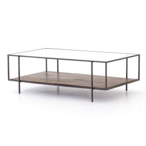 "Byron Shadowbox Metal & Glass Coffee Table 48"""