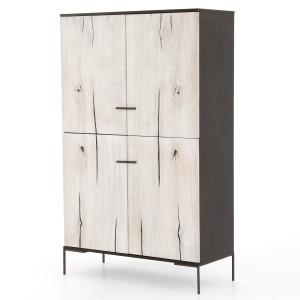 "Cuzco Bleached Yukas Wood 4 Door Tall Cabinet 71"""