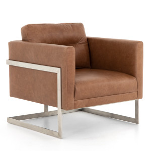 Fiona Modern Tan  Leather Club Chair