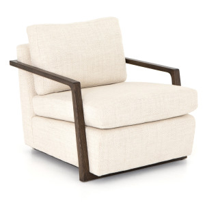 Jesse Modern Taupe Upholstered Oak Arm Chair