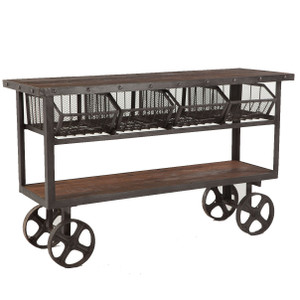 Industrial Teak + Iron Rolling Kitchen Cart 60""