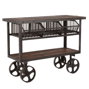 Industrial Teak + Iron Rolling Kitchen Cart 48""