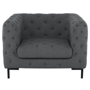 Tufty Shale Grey Velvet Upholstered Club Chair
