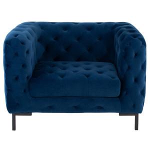 Tufty Navy Blue Velvet Upholstered Club Chair