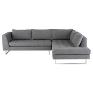 """Janis Grey Fabric Tufted Sectional Sofa 105"""""""