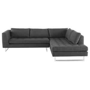 "Janis Dark Grey Fabric Tufted Sectional Sofa 105"""