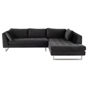 Janis Shadow Grey Velvet Tufted Sectional Sofa 105""
