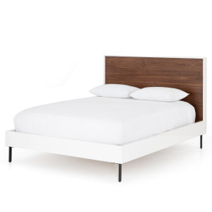 Tucker Mid-Century Walnut + White Lacquer Queen Platform Bed
