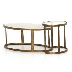 """Calder Oval Marble Nesting Coffee Table 38"""""""