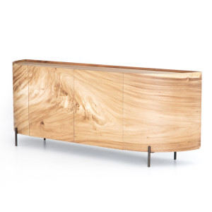 """Lunas Natural Wood Curved Sideboard Buffet 77"""""""