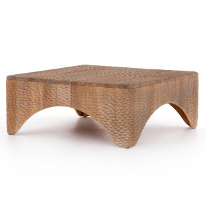 """Atrumed Carved Mahogany Wood Square Coffee Table 40"""""""