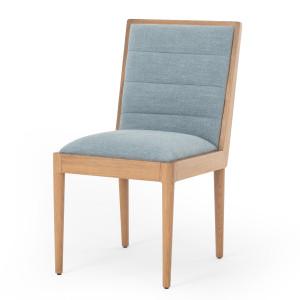 Flore Blue Linen Oak Wood Dining Chair