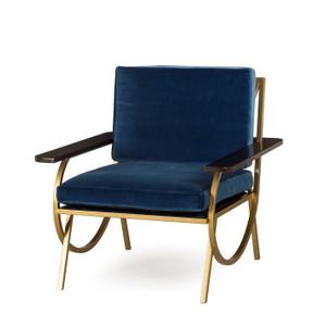 B Vana Blue Velvet + Gold Accent Chair