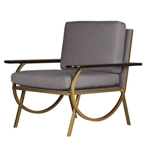 B Shadow Grey Velvet + Gold Accent Chair
