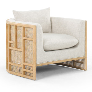 June Cream Linen Cane Back Lounge Chair - Oak