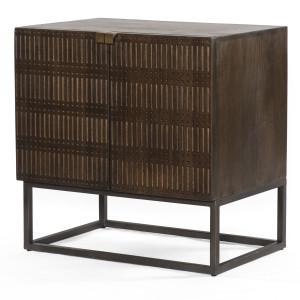 Kelby Wood and Iron 2 Door Cabinet Nightstand