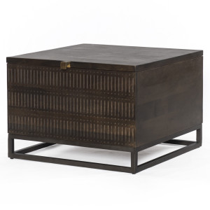 Kelby Wood and Iron Trunk Coffee Table 24""