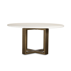Mia Brass Leg Concrete Top Round Dining Table 60""