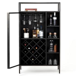 Branson Modern Industrial Black Bar Cabinet