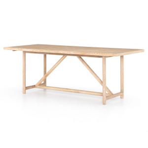 """Mika Rustic Modern Whitewashed Oak Dining Table 84"""""""