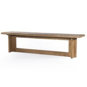 "Erie Oak Wood Modern Trestle Dining Bench 81"""