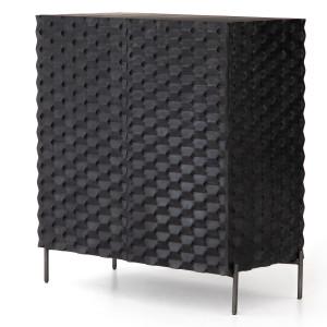 Raffael Carved Black Wood 2 Door Bar Cabinet