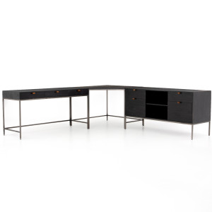 Fulton Trey Black Industrial Modular Desk with Filing Credenza