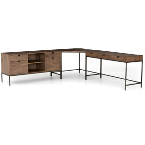 Fulton Trey Industrial Modular Desk Set with Filing Credenza