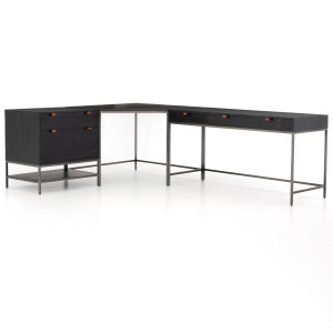 Fulton Trey Black Industrial Modular Desk with File Cabinet