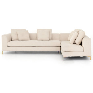 """Greer Ivory 2 Piece LAF Chaise Sectional Sofa 124"""""""