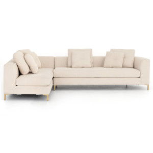 """Greer Ivory 2 Piece RAF Chaise Sectional Sofa 124"""""""