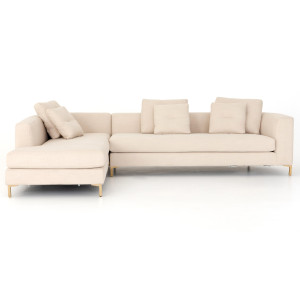 """Greer Ivory 2 Piece LAF Bumper Chaise Sectional Sofa 123"""""""