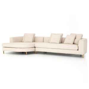 """Greer Ivory 2 Piece LAF Rounded Chaise Sectional Sofa 138"""""""