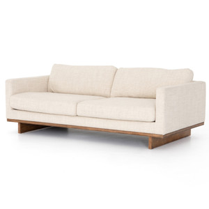 Everly Taupe Upholstered Track Arm Modern Sofa 84""