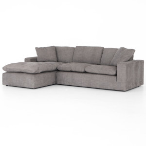 Plume Grey Upholstered Block Arm LAF Large Sectional Sofa 136""