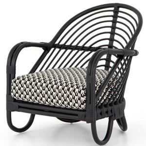 Marina Woven Ebony Rattan Chair - Herringbone