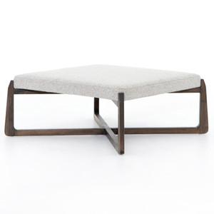 "Roscoe Pebble Grey Upholstered Square Ottoman 38"""